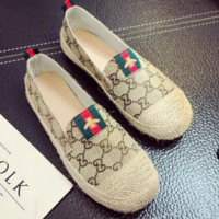 GUCCI New fashion flat women red and green stripe bee shoes casual shoes straw shoes Khaki