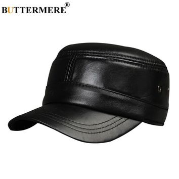 BUTTERMERE Men Military Hat Black Genuine Leather Flat Cap Beret Male Vintage Adjustable Army Cap Ivy Casual Captain Hat
