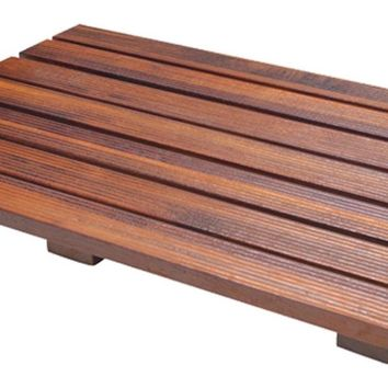 "Handcrafted Teak Wood Bath Mat Non Slip Feet For In And Out The Shower, 21""x14"""