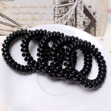3PCS Women Elastic Black Hair Rope Gum Hair Rubber Hairdressing Stylists Head To Weave Hair Styles Hair Accessories Soft Curlers