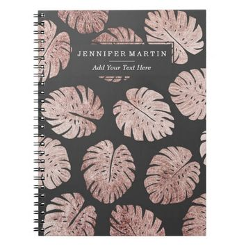 Chic Elegant Rose Gold Swiss Cheese Plant Leaves Notebook
