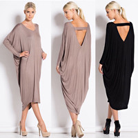Womens Tunic Maxi Dress Oversize Loose Kaftan Long Sleeve Party Cocktail Pleated