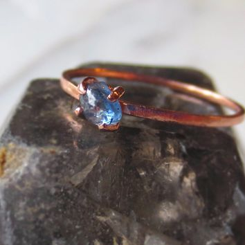Raw Sapphire Ring | Delicate Engagement Ring | Natural Blue Sapphire