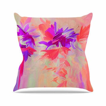 "Ebi Emporium ""Deconstructing the Garden 3"" Purple Pink Outdoor Throw Pillow"