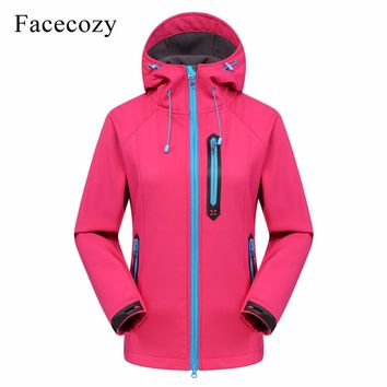 Facecozy Women 2018 Outdoor Hooded Softshell Winter Jacket Women Jackets Hiking Camping Fishing Trekking Thermal Coat for Skiing