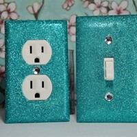SET Of Aqua Glitter Swichplate Outlet Covers ALL Styles