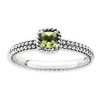Antiqued Sterling Silver Stackable Peridot Ring