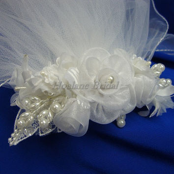 Flower girl headpiece, floral comb with veils, Communion veils