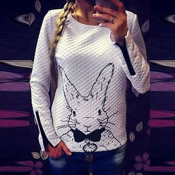 Womens Long Sleeve Rabbit Printing Hoodie Sweater Casual Tops Blouse T shirt sweatershirt(Size S-3XL)