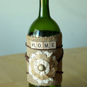 Decorated wine bottle with burlap from craftyoda on etsy for Wine bottles decorated with flowers