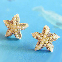 NT0043 Golden five-pointed star starfish diamond pearl earrings