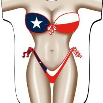 Texas Flag Bikini Swimwear Cover Up T-Shirt Lady's Fun Wear, Plus Size