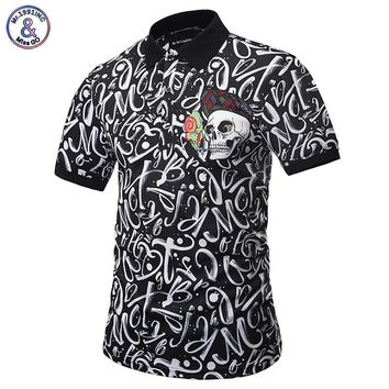 Mr.1991INC POLO Shirts Men Paisley Flowers Shirt Print Skulls Tops Men Summer Fashion Polo Shirts