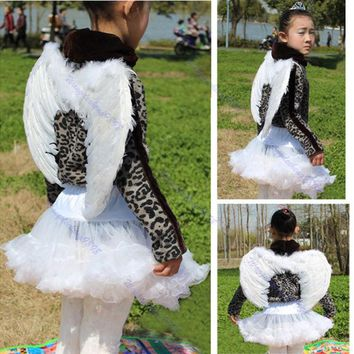 DCCKWQA 2016   newest      Kids Girls White Feather Fairy Angel Wings Christmas Halloween Party Costume