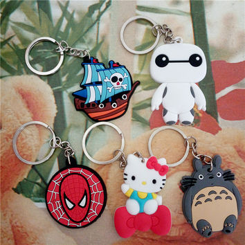 Anime Cartoon Figures One Piece Big Hero Totoro Hello Kitty Spiderman Keychain Pendant Toys