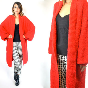 DRAPED nubby red GRUNGE oversized bouclé CARDIGAN duster sweater, one size fits most