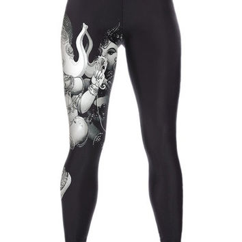 Women's Fashion Slim Sports GYM Yoga Soft Sexy Digital Print Leggings (Size: M) = 1933276996