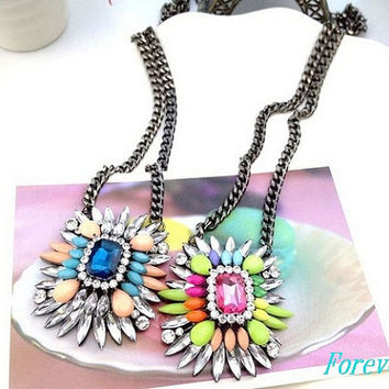 Colorful Bib Statement Necklace Pendant Necklace  2 Color Combinations, Bride, Wedding, Anthroplogie, J Crew, Kate Spade,