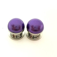 Dark purple pearl plugs / 2g, 0g, 00g, 1/2 inch / wedding plugs / pearl gauges / colorful plugs / purple plugs / purple gauges