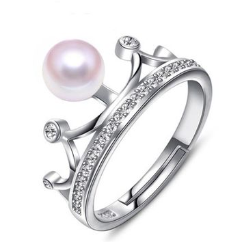 RUNZHUQIYUAN 2017 100% natural freshwater pearl ring perfect round Crown style Wedding Rings 925 Sterling Silver Rings For Women