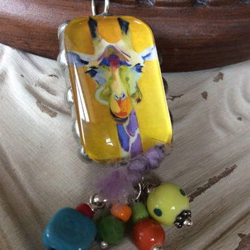 Necklace, Jewelry, Handmade, Pendant, Art, Giraffe, Elephant, Poem, Animal, Nature, Yellow, Pink, JustSlightlyVintage