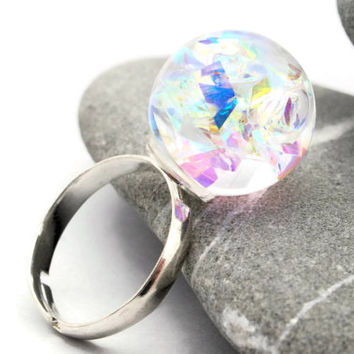 Hologram Ring - Rainbow Mirror Snowglobe Ring - Color Changing Snow Globe Ring - Prism Ring - Glass Globe Jewelry