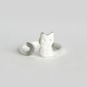 925 Sterling silver cat opening ring,personalized fashion cute cat ring, a perfect gift