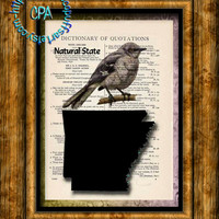 ARKANSAS State Black Silhouette with State Bird, Natural State Art - Vintage Dictionary Page Art Print Upcycled Page Print