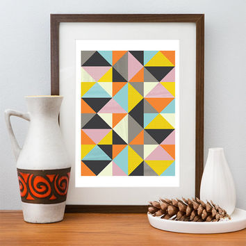 Geometric art print, colorful abstract art, Scandinavian design, gemotrical illustration wall decor, retro mid century modern poster A4 8x10