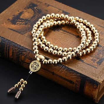 Stainless Steel 108 Buddha Beads Self Defense Weapon Martial Arts Hand Bracelet Chain Outdoor Camping Hiking Tool