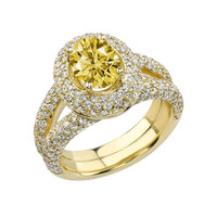 2.01 CARATS yellow canary oval diamond wedding anniversary ring gold yellow 14K