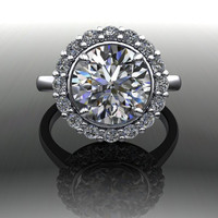 Forever Brilliant Moissanite and Diamond Simple Halo Engagement Ring 3.48 CTW