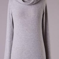 Weekend Relaxation Tunic Sweater Dress - Light Gray