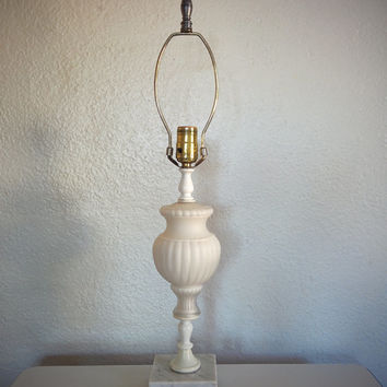 Vintage 60's Regency Lamp White with Italian Marble Base