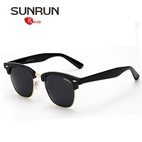 SUNRUN Men Polarized Sunglasses Women Classical Brand Design Vintage Semi Rimless Eyewear lentes de sol mujer 7801