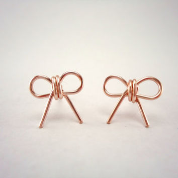 Pink Bow Earring Studs Rose Gold by heartfeltwiredesigns on Etsy