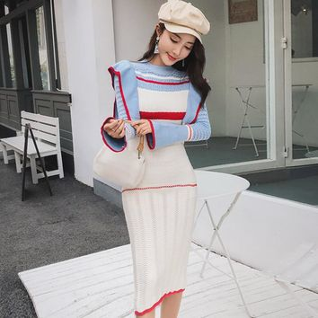 2018 Winter Flare Sleeve Striped Colorful Women Knitted Cloth Ruffles Hollow Out Knee-Length Bodycon Sexy Sweater Dress