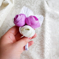 Violet lilac purple off white peonies flower wedding BOUTONNIERE custom corsage satin ribbon peony