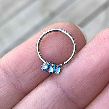 White Opal Daith Hoop Ring Rook Hoop Cartilage Helix Tragus