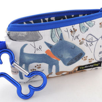 Dog Clean-Up Pouch - 'Lazy Blue' - With Clip to Attach to Your Leash & Free Earth Friendly Poop Bags