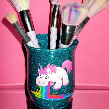 Unicorn Rainbow Puke Makeup Brush Holder - YOU CUSTOMIZE!