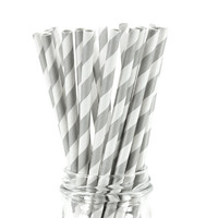 25 Paper Straws - Gray & White Stripes - Colored Drinking Straw Birthday Party Wedding Baby Shower Cake Pop Sticks Yellow Bulk Wholesale