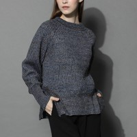 Stay Warm and Chic Ribbed Sweater in Somky Blue