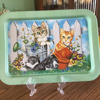 Vintage Ross Avidon Tray, Cats in the Garden Tray, Cat Lap Tray, Kitty TV Tray, Kitty-Cat Breakfast in Bed Tray, Aluminum Cat Folding Tray