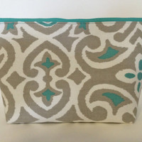 Extra Large Cosmetic, Toiletry, Travel and Makeup Bag in Teal Damask
