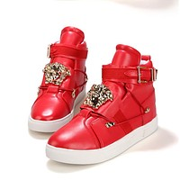 Versace Women Men High Help Sneakers Fashion Trending Running Sports Shoes Red