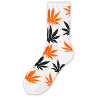 HUF Plantlife White & Orange Crew Socks