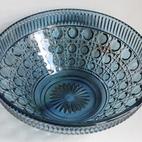 Blue Windsor Button & Cane Indiana Glass Large Salad Serving Bowl, Vintage Retro Pressed Depression Glass