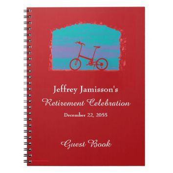 Retirement Party Guest Book, Red Bicycle Notebook