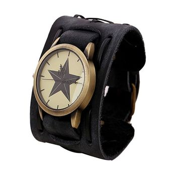 Genvivia Wide Leather Watch